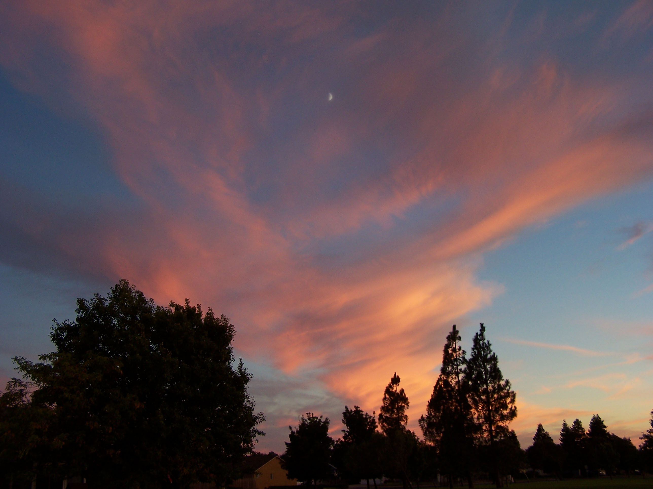 Half moon in a Solano sunset